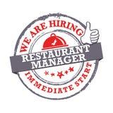 Wij huren Restaurantmanager in - direct begin Voor het drukken geschikte zegel/etiket/sticker royalty-vrije illustratie