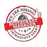 Wij huren Restaurantmanager in - direct begin Zegel/etiket voor druk vector illustratie