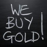 Wij kopen Gouden Bordteken stock fotografie