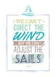 Wij kunnen niet de Wind leiden, maar wij kunnen het Citaat van de Zeilenmotivatie aanpassen Creatief Vectortypografieconcept stock illustratie
