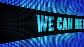 Wij kunnen u helpen Zijtekst Scrollend LEIDEN Muurcomité de Raad van het Vertoningsteken stock footage