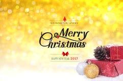 Wij met u zeer vrolijke Kerstmis en gelukkige nieuwe een jaar 2017 tekst Stock Afbeelding