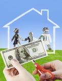 Wij snijden familiefinanciën Stock Fotografie