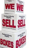 Wij verkopen dozen Stock Foto