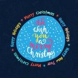 Wij wensen u vrolijke Kerstmis - citeer op gevormde achtergrond Royalty-vrije Stock Foto