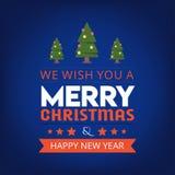 Wij wensen u Vrolijke Kerstmis en gelukkige nieuwe een jaarachtergrond vector illustratie