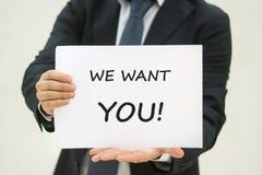 Wij willen u tekst op papier Royalty-vrije Stock Foto