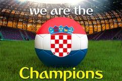 Wij zijn Championions op de Kroatische bal van het voetbalteam op grote stadionachtergrond Het concept van de het Teamconcurrenti vector illustratie