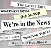 Wij zijn in de Nieuws Gescheurde Gescheurde Aandacht van Krantenkrantekoppen vector illustratie