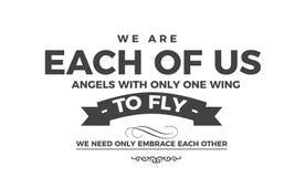 Wij zijn elk van ons engelen met slechts één vleugel royalty-vrije illustratie