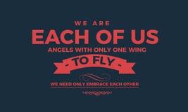 Wij zijn elk van ons engelen met slechts één vleugel vector illustratie