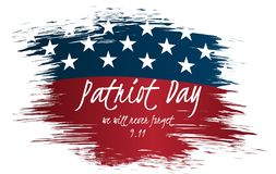 Wij zullen nooit Uitstekend het Etiketontwerp van de Patriotdag vergeten 9/11 achtergrond van de Patriotdag, Stock Fotografie