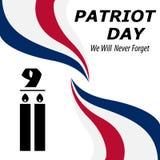 Wij zullen nooit vergeten 9/11 achtergrond van de Patriotdag, de Amerikaanse achtergrond van Vlagstrepen Patriot Dag 11 September Stock Foto's