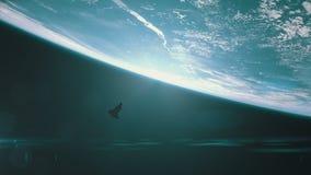 Wijd geschoten van de ruimteveer cirkelende aarde stock illustratie