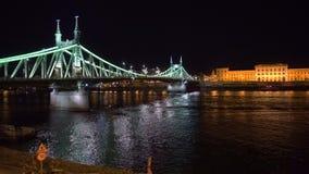 Wijd geschoten van Liberty Bridge in Boedapest stock video