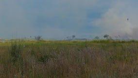 Wijd geschoten van rookwolken van het branden van landbouwersgebied stock videobeelden
