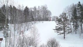 Wijd Geschoten van Ski Lift zonder Mensen stock videobeelden