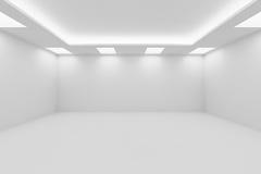Wijd lege witte ruimte met vierkante plafondlichten stock illustratie