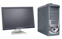 Wijd vlakke monitor en computer stock foto's