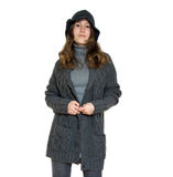 Wijfje in comfortabele warme kleren Stock Foto's