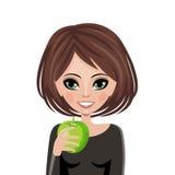 Wijfje dat een verse groene appel houdt Royalty-vrije Stock Afbeeldingen