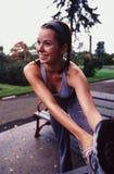 Wijfje dat jogger strecting. royalty-vrije stock afbeeldingen