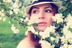Wijfje in de bloem van de appelboom Royalty-vrije Stock Afbeeldingen