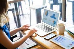 Wijfje die aan laptop bij koffiewinkel werken royalty-vrije stock foto