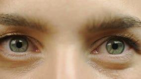 Wijfje die in camera, sluitende ogen, rechte blik staren van de ogenclose-up van de vrouw stock video