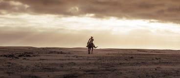 Wijfje die haar hengst berijden bij de overzeese kust stock fotografie