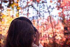 Wijfje die met hoofdtelefoons op het park het lopen luistert geluiden of muziek van de herfst bosconcept Indische zomer stock foto