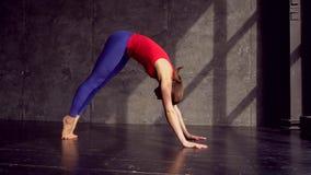Wijfje die yogaasanas op de vloer uitvoeren De benedenwaartse hond en de cobra stellen Mooie jonge vrouw die binnen uitwerken stock videobeelden
