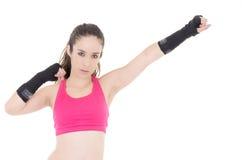 Wijfje gemengde vechtsportenvechter in MMA-stijl stock foto's