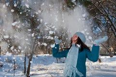 Wijfje in het park in de winter Stock Afbeelding