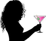 Wijfje met drank vector illustratie