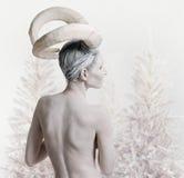 Wijfje met geit lichaam-kunst Stock Afbeelding