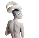 Wijfje met geit lichaam-kunst Stock Foto