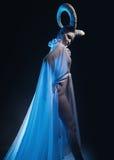 Wijfje met geit lichaam-kunst Stock Afbeeldingen