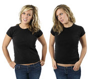 Wijfje met lege zwarte overhemden Stock Fotografie