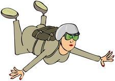 Wijfje skydiver royalty-vrije illustratie