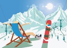 Wijfje snowboarder in bikinizitting in ligstoel het ontspannen in de toevlucht van de bergski Heldere zon en skistoellift royalty-vrije illustratie