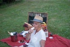 Wijn, aardbeien, frambozen en zoet schuimgebakje, een perfecte picknick voor deze jonge vrouw stock fotografie