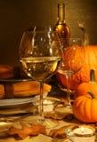 Wijn bij Dankzegging Stock Foto