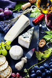 Wijn, druif en kaas royalty-vrije stock foto