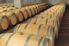 Wijn eiken vaten waarin de rode wijn in de kelder van de wijnmakerij is verouderd Concept de productie van wijn royalty-vrije stock foto's