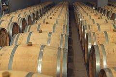 Wijn eiken vaten waarin de rode wijn in de kelder van de wijnmakerij is verouderd Concept de productie van wijn stock foto
