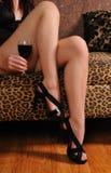 Wijn en benen Royalty-vrije Stock Afbeelding