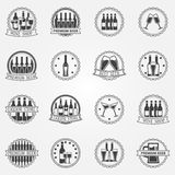 Wijn en bier vectoretiketten Royalty-vrije Stock Afbeeldingen