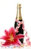 Wijn en bloem Stock Fotografie