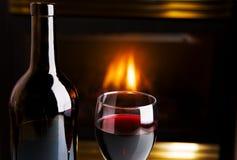 Wijn en brand Stock Afbeelding